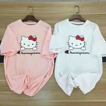 Champion & Hello Kitty New Fashion Short Sleeve Top T-Shirt two color
