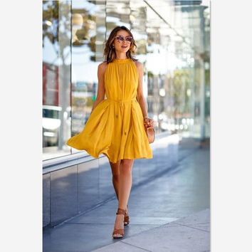New 2016 Fashion Plus Size Women Dress Summer Sexy Yellow Sleeveless O-Neck Mini Autumn Dresses Casual Party A-Line Vestidos