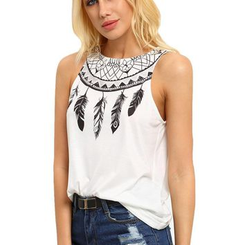 Sleeveless Feather Printed Shirts Round neck Top T-shirt Tank