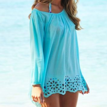 Coco Bay - Seafolly Satisfaction Beach Cover Up Kaftan in Ice Blue - Buy this gorgeous cotton Seafolly Blue beach kaftan at Coco Bay - Women's Swimwear and Seafolly bikinis - Designer Beachwear for Women - Free UK Returns