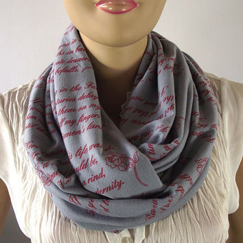 Emily Dickinson Infinity Scarf, Love Poem Scarf, Circle scarf, Gray, Red, Screen Printed Text Scarf, Romantic Gift