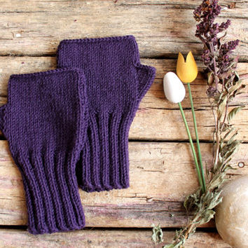 Autumn Trend / Hand Knit Fingerless Gloves / Medium size fits most. / Purple / Winter Fashion/ Arm Warmes