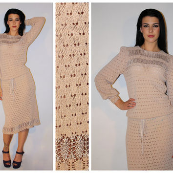 Vintage DROP WAIST Dress, 70s Does 20s Flapper Style, Eyelet Crocheting / Bishop Sleeves / OOAK Avant Garde / Small