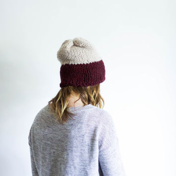 Slouchy Two Toned Chunky Knit Hat Unisex Beanie | THE TIMBERLANE | Wine & Linen