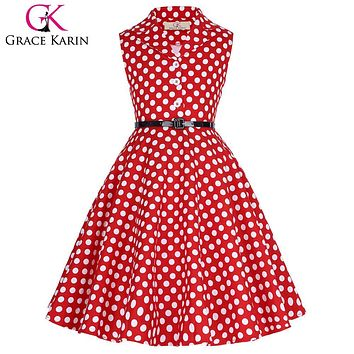 Grace Karin Flower Girl Dresses for Weddings 2017 Sleeveless Polka Dots Printed Vintage Pin Up Style Children's Clothing
