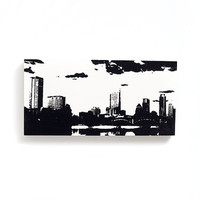 12 x 6 Austin Skyline Wood Canvas: White w/ Black (Traditional Wood Cradled Panel) Screenprint/Painting, Austin Wall Art, Austin Print