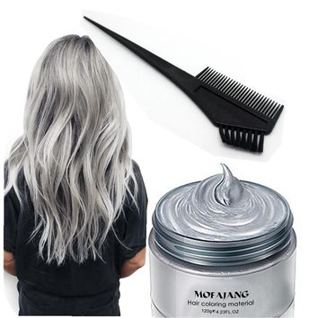Grandma Gray Hair Wax 120g Does Not Hair Hurt Silver Gray One-Time Hair Dye Fifty Degrees Grey Hair 5 Colors +comb