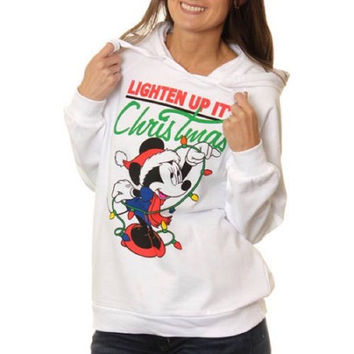 "Disney Women's Minnie Mouse ""Lighten Up"" Christmas Fleece Hoodie, White, Small"