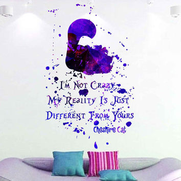 kcik1743 Full Color Wall decal poster space Watercolor paint splashes Alice in Wonderland Cheshire cat quote children's room