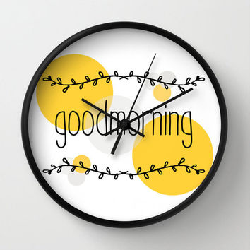 Good morning wall clock black white yellow wall decor home decor ornament decoration housewares hipster laurel geometric minimal wall clock