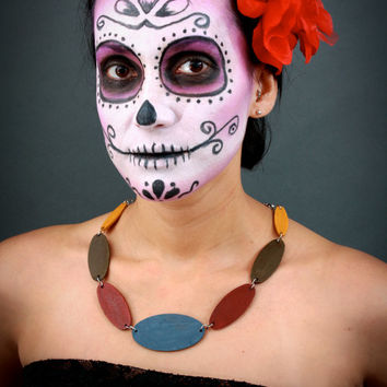 Mexcian Statement Necklace - Day of The Dead Sugar Skull - Mexican Inspired Jewelry