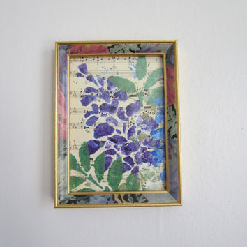 blue and purple flower 5x7 framed art painted over vintage sheet music
