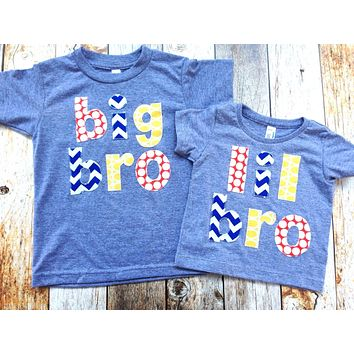 Triblend Grey Big Sis to Be or Little Sister Birth Announcement Shirt lil bro chevron dot primary colors