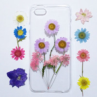 iPhone 6s Case Floral, iPhone 5s Case Clear, Pressed Flower iPhone 5s Case, samsung galaxy s6 case,  pressed flower samsung galaxy case