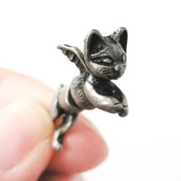 Fake Gauge Earrings: Kitty Cat Burglar Animal Shaped Plug Earrings with Wings in Silver