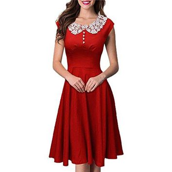 Arrowder Womens Vintage Retro Hepburn Style 1940s Rockabilly Evening Dress