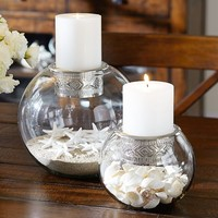 Glass Globes with Metal Cuff Pillar Holders