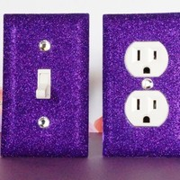 SET of VIOLET PURPLE GLITTER Switch plate Outlet Covers ANY STYLES