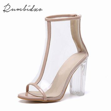 2017 Sexy PVC Transparent Gladiator Sandals Peep Toe Shoes Clear Chunky Heels Ankle Boots For Women Sandalias Mujer