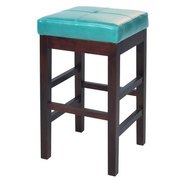 Kieran Backless Leather Counter Stool Blue