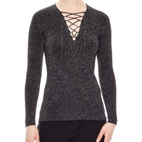 SandroTalia Sparkling Lace-Up Sweater