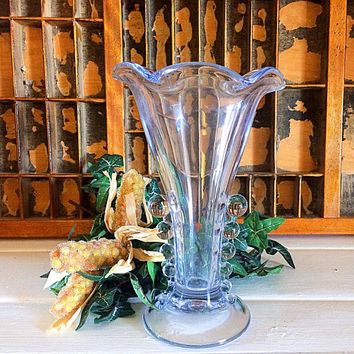 Candlewick Trumpet Vase, Imperial Glass Vase, Imperial Bead Vase, Teardrop Vase, Clear Glass Vase, Candlewick Glass, Candlewick Pattern