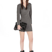 Grey Mini Dress with Cut Out Back