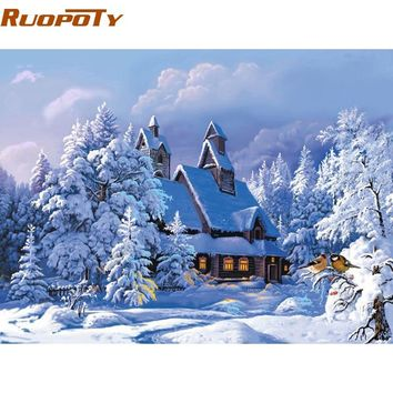 RUOPOTY Frame Christmas Snow Landscape DIY Painting By Numbers Wall Art Picture Modern Hand Painted Oil Painting 40x50cm decor