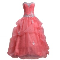 Meibida Sweetheart Ball Gown Pageant Prom Dresses for Evening Quinceanera Gowns