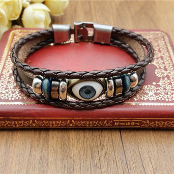 Fashion Men's Women Charm Leather Bracelet Bangle Cuff Punk Style Jewelry +Gift Box