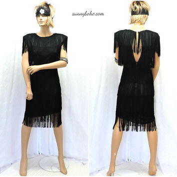 Vintage 80s does 40s sheer black fringed flapper dress M black fringe dress 7 / 8 1980s cocktail party formal holiday dress SunnyBohoVintage
