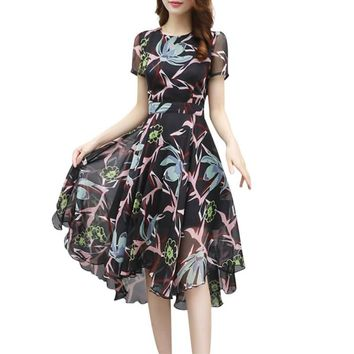 2018 Fashion Sexy Women Dress Floral Chiffon Wrap Dress Short Sleeve O Neck High Low Long Maxi Beach Dresses Plus Size