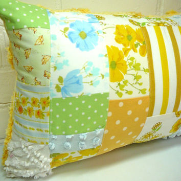 Shabby Chic Pillow / Patchwork Pillow / Chenille Pillow / Vintage Sheet Pillow / Cottage Chic Pillow / Granny Chic Pillow