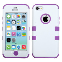 MYBAT TUFF Hybrid Case for iPhone 5C - White/Electric Purple