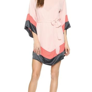 Halston Heritage Colorblock Caftan Dress