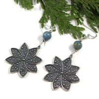African Blue Opal Rhodium Pewter Flower Sterling Silver Earrings