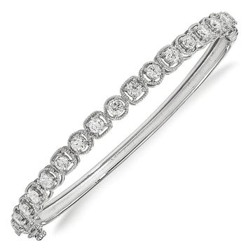 Sterling Silver Rhodium-plated CZ Hinged Bangle