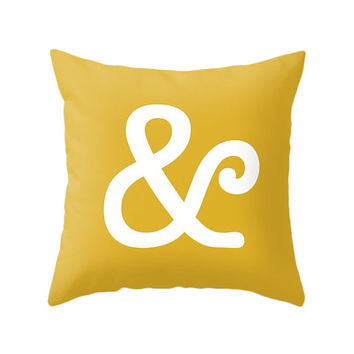 Ampersand Pillow, 5 Pastel Colors, Typography Art Cushion, Scandinavian Decoration, Minimalist, Yellow Modern Decor, Retro Zipper Cover