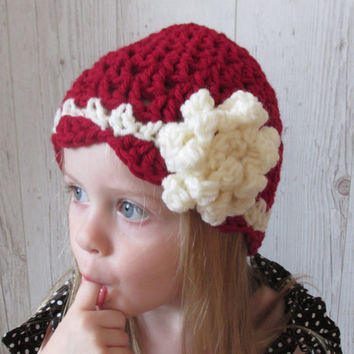 Toddler Girl  Hat , baby Hat Pattern, Girl Hat Pattern, Crochet Hat Pattern, Girls Beanie, Crochet Baby Girl Hat, Big Flower Girl Hat 6SIZE