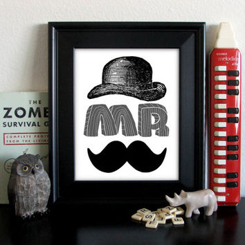 Typography, Gray, Mustache, Mr, Hat, 8 x 10, Archival Giclee Print, Letters BUY 2 GET 1 FREE