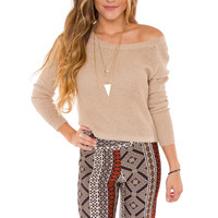 Paula Sweater Top - Taupe