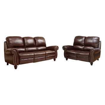 Abbyson Living Krotia Pushback Reclining Sofa and Loveseat (2 PC) - Brown