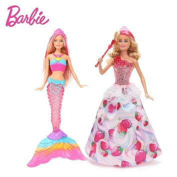 New Original Barbie Doll Dream To Pia Sweetville Princess Doll Rainbow Lights Mermaid Barbie Doll Toy Birthday Gift for Girls