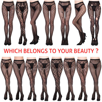 Europe fishnet tights Fashion sexy girl women with tattoos jacquard lace Nightclub lady tights
