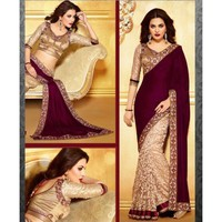 Velvet & Net Border Work Beige & Purple Half & Half Saree - 538