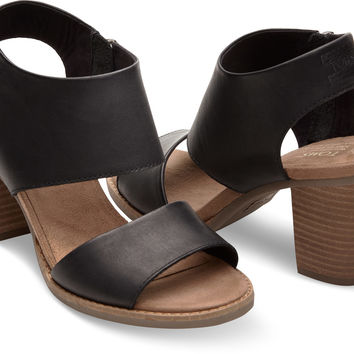 BLACK LEATHER WOMEN'S MAJORCA CUTOUT SANDALS
