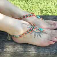 Bohemian Barefoot Sandals Beaded Sandals Gypsy by MoJosFreeSpirit