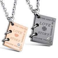 Stylish Jewelry Shiny Gift Titanium Couple Necklace Love and Story Necklace [9047551367]