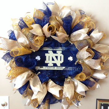 Notre Dame Wreath - Deco Mesh Wreath - Sport Wreath - Fighting Irish Wreath