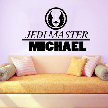 Jedi Master Name Decal Nursery Vinyl Stikers Art Mural Star Wars Sticker Bedroom Wall Decals Home Interior Design Living Room Decor KY87